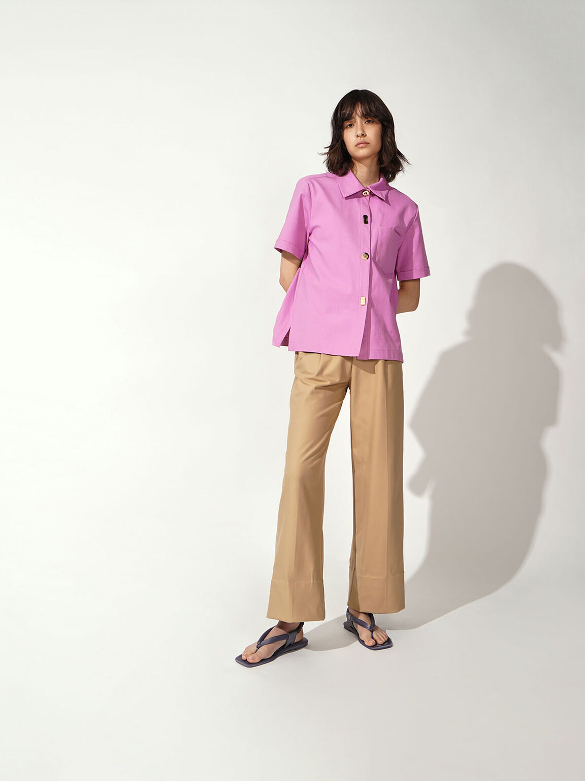 Puffy Strap Thong Sandals, Lilac Grey, hi-res