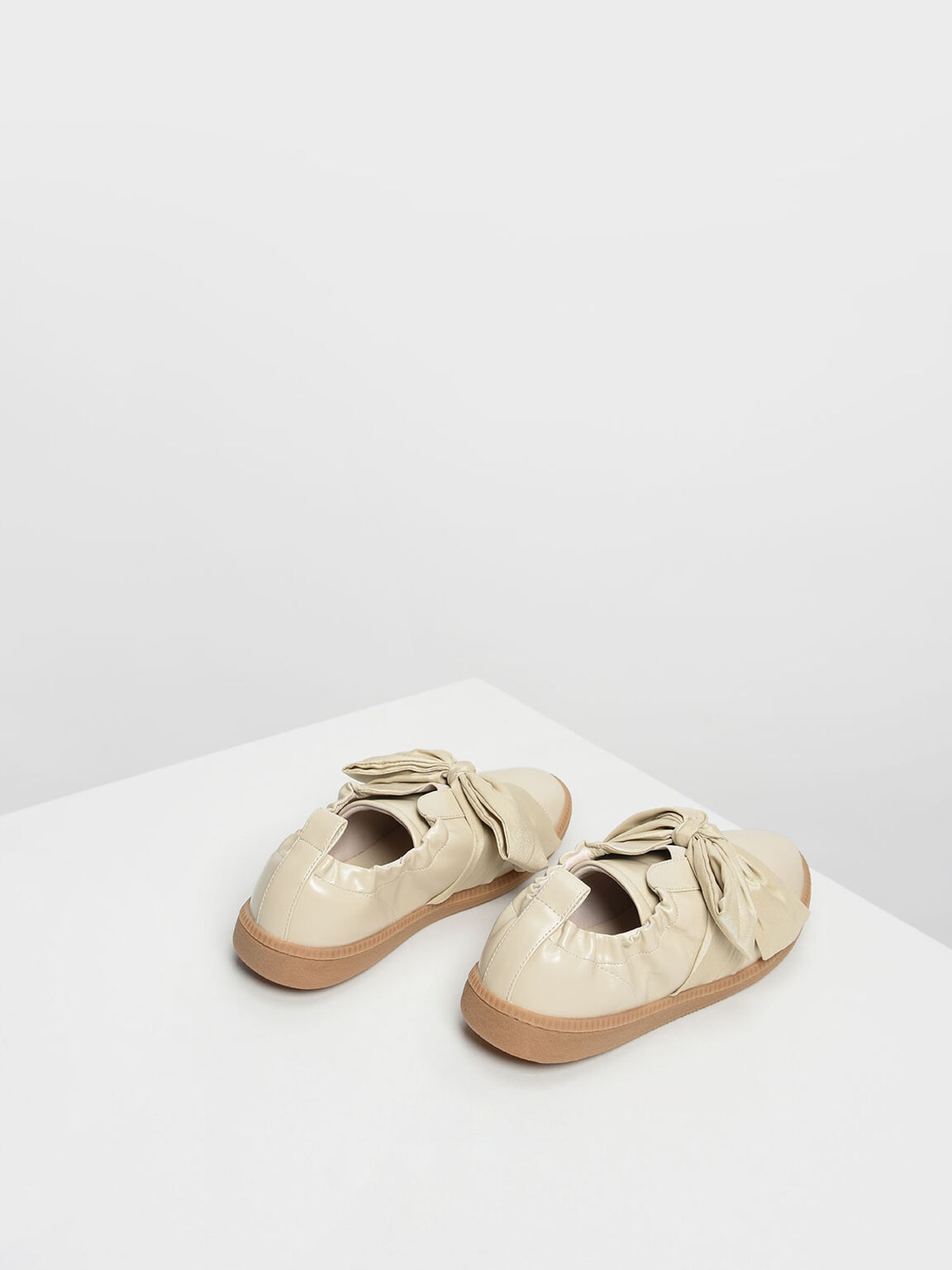 Knotted Bow Sneakers, Cream, hi-res