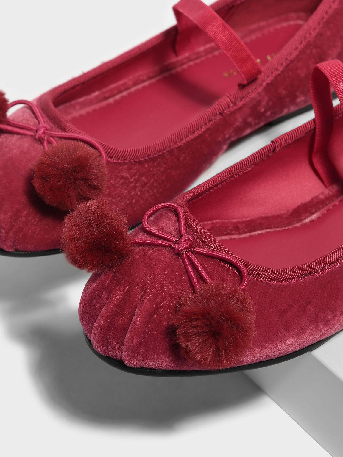 Kids Pom Pom Bow Detail Ballerinas, Pink, hi-res
