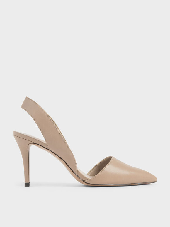 Thick Slingback Strap Heels, Nude, hi-res