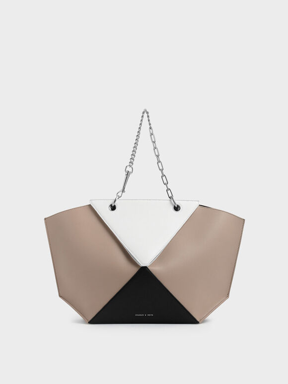 Two-Tone Thin Chain Handle Sculptural Tote, Multi, hi-res