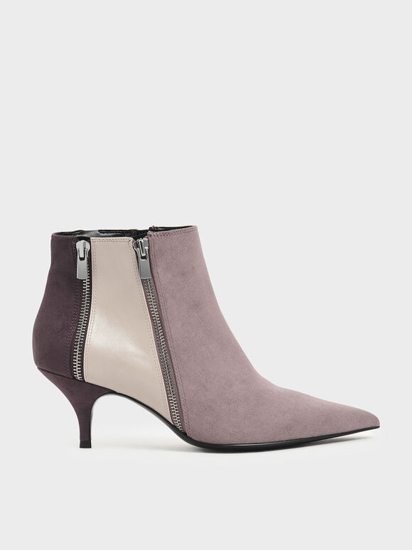 Textured Multicolour Zip-Up Kitten Heel Ankle Boots, Multi, hi-res