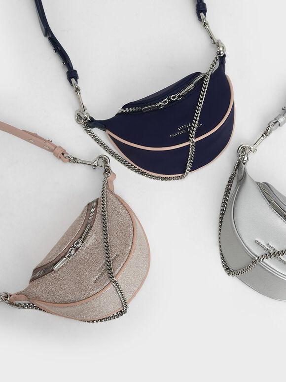 Girls' Chain-Embellished Crossbody Bag, Dark Blue, hi-res