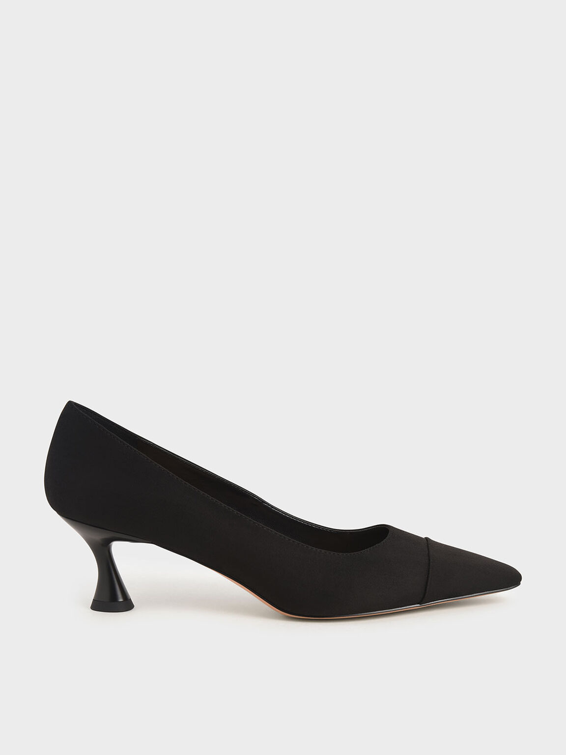 Textured Spool Heel Toe Cap Pumps, Black, hi-res