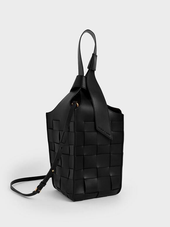 Woven Single Handle Bucket Bag, Black, hi-res