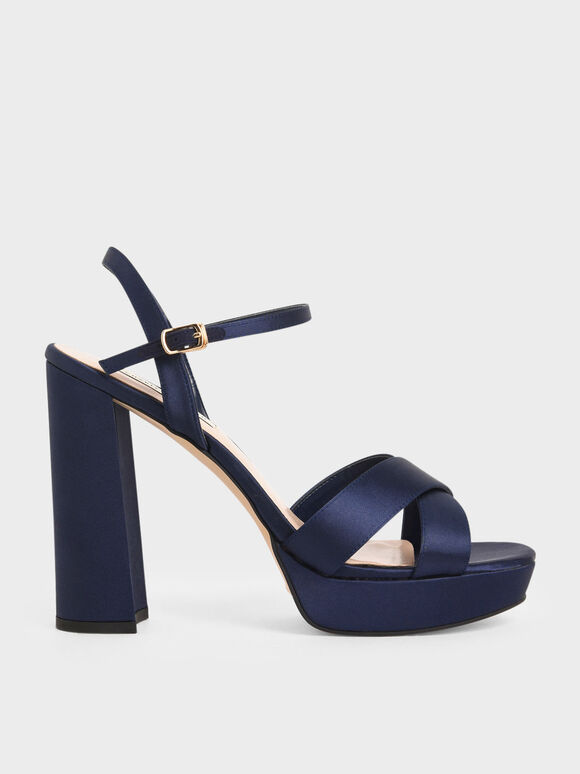 Satin Platform Heels, Dark Blue, hi-res