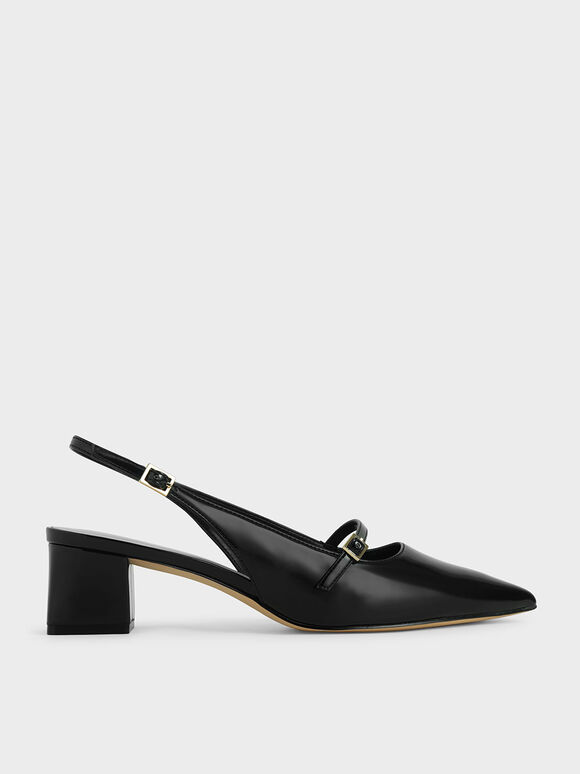 Patent Mary Jane Slingback Pumps, Black, hi-res