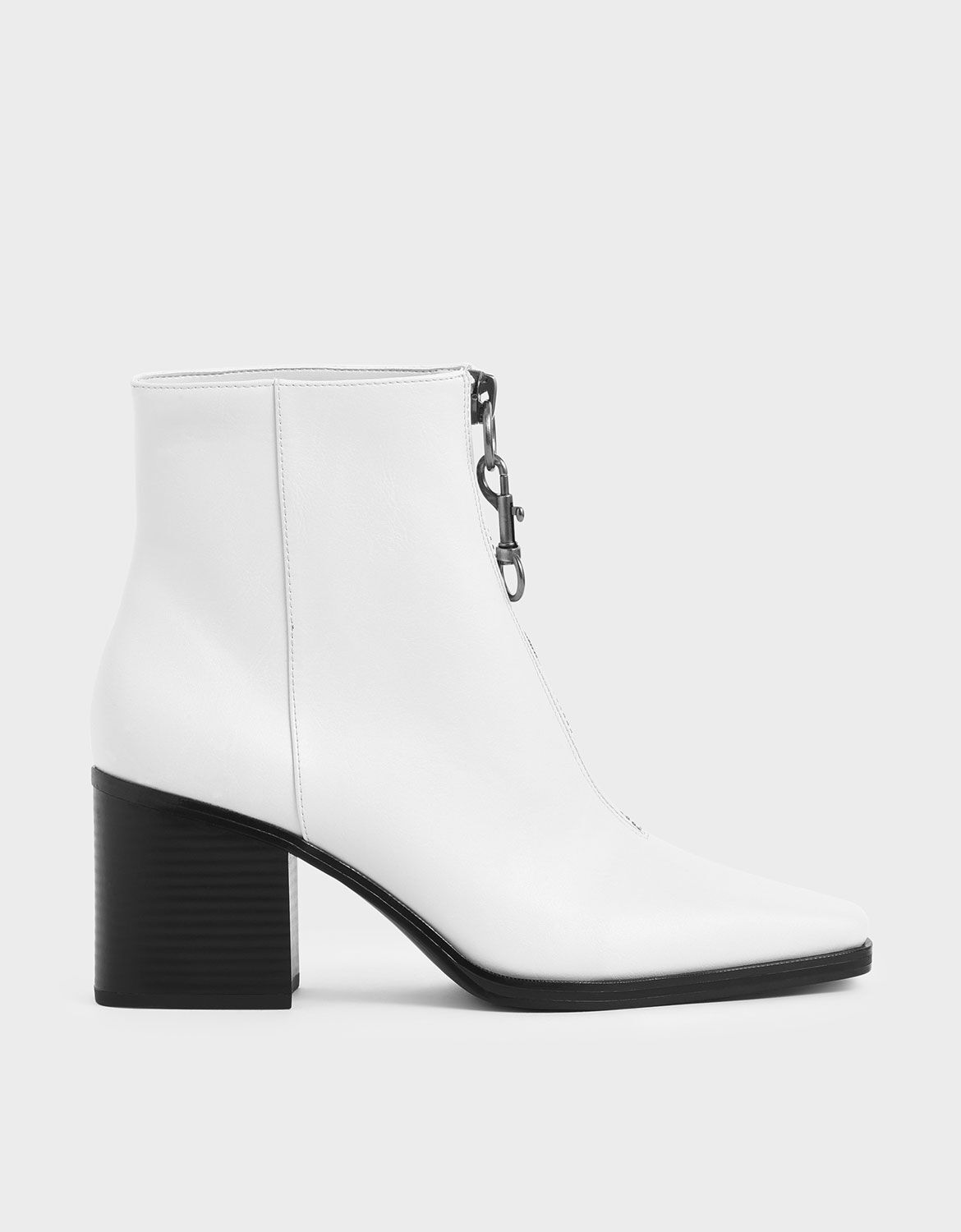 White Front Zip Ankle Boots | CHARLES