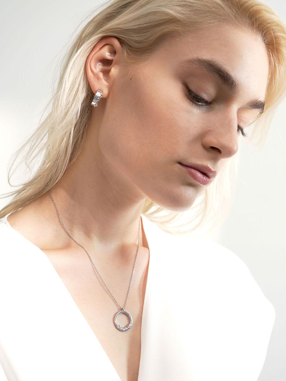 Swarovski® Crystal Studded Pendant Necklace, Silver, hi-res