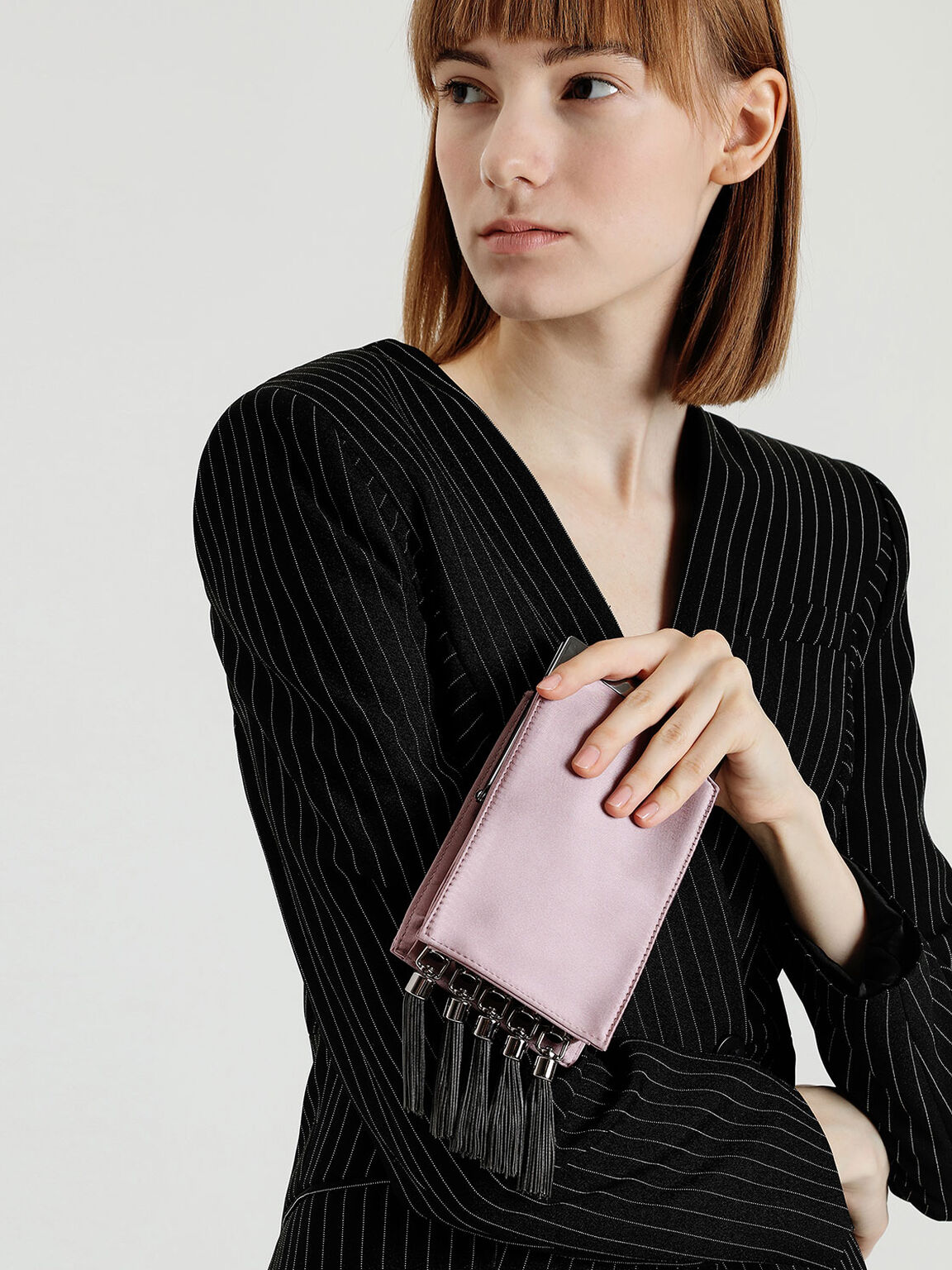 Satin Tassel Clutch, Pink, hi-res