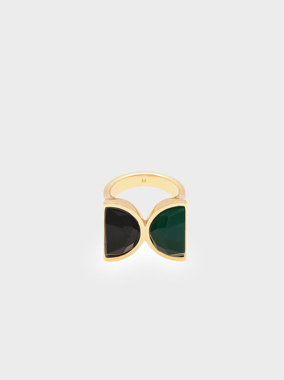 Black Marble Brass Ring, Green, hi-res