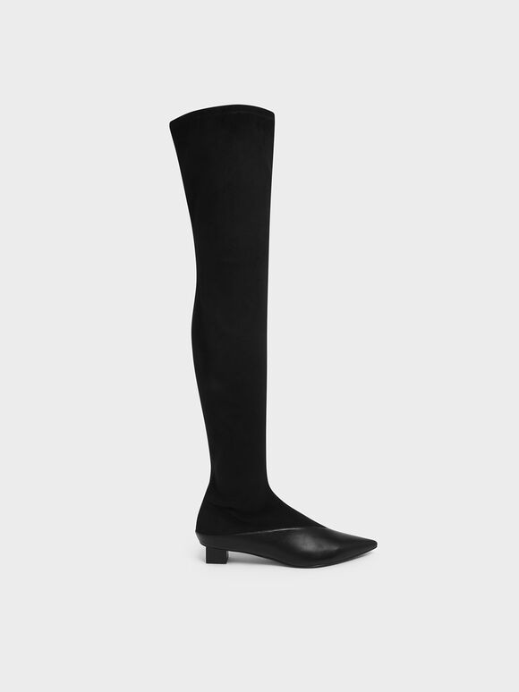 Thigh High Low Block Heel Sock Boots, Black, hi-res