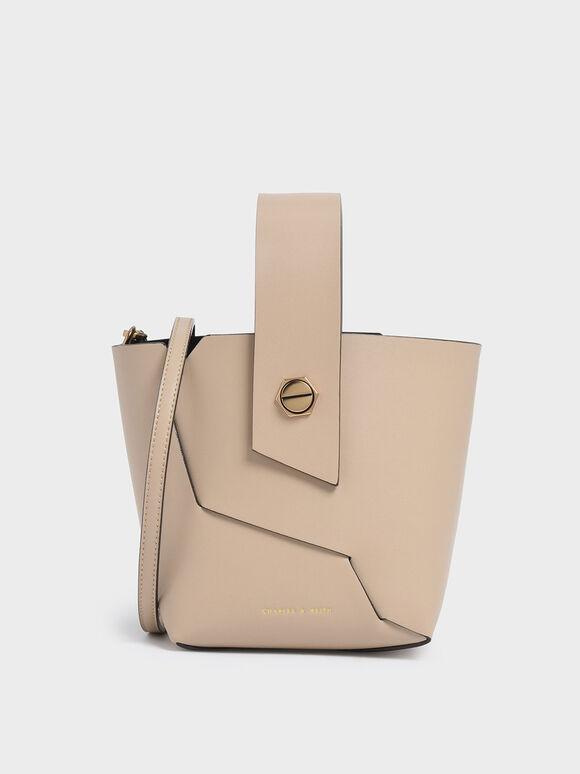 Wristlet Handle Bucket Bag, Beige, hi-res