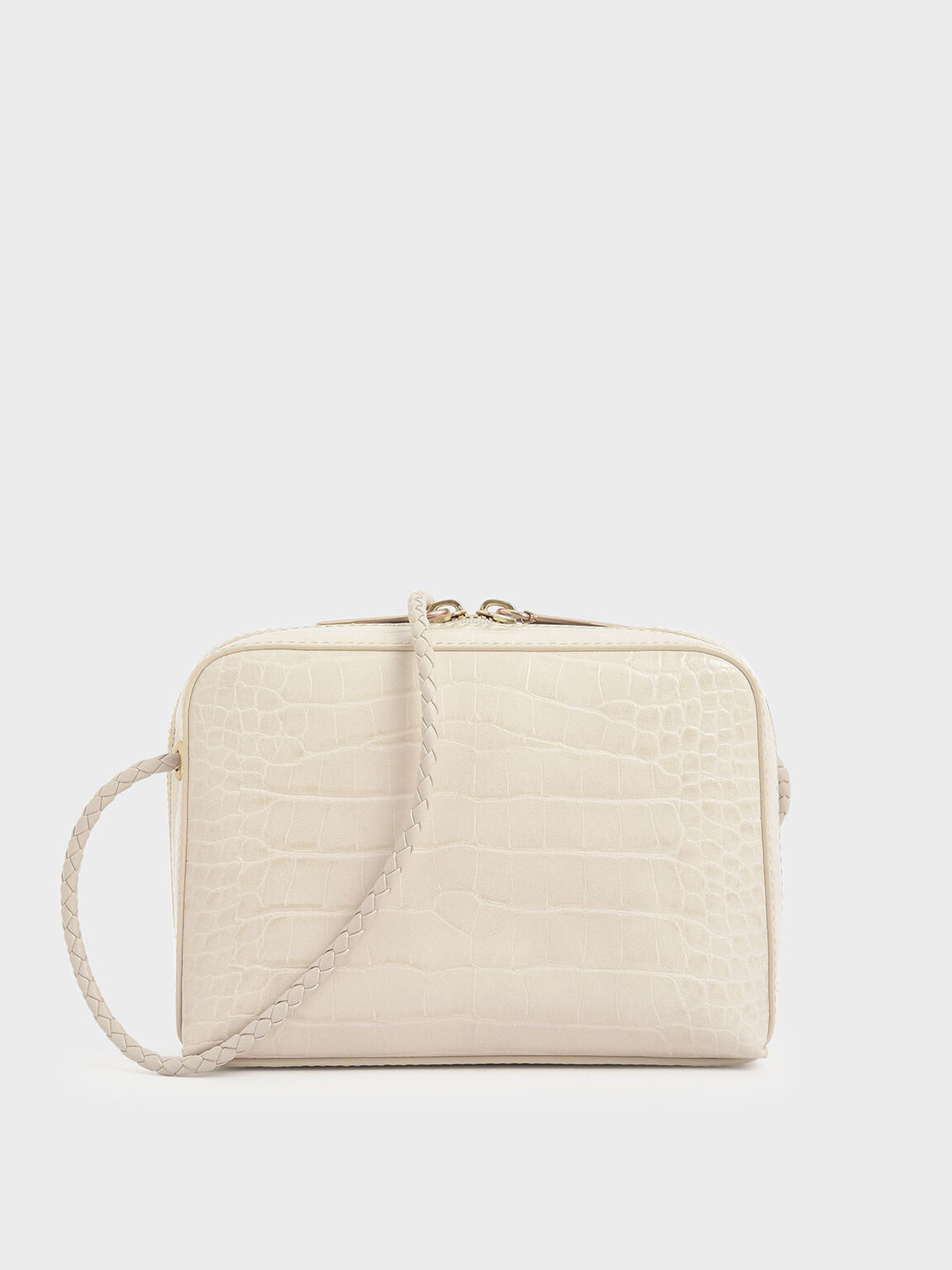 Croc-Effect Mini Rectangular Crossbody Bag, Cream, hi-res