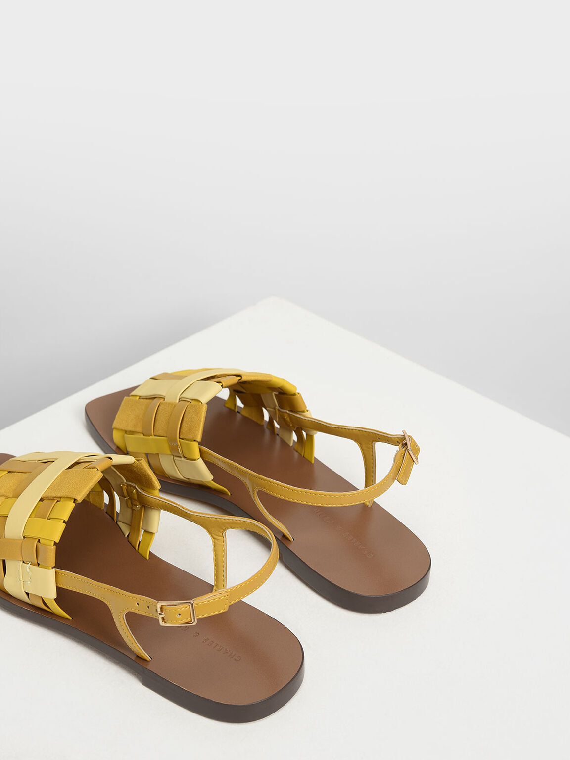 Woven Slingback Sandals, Yellow, hi-res