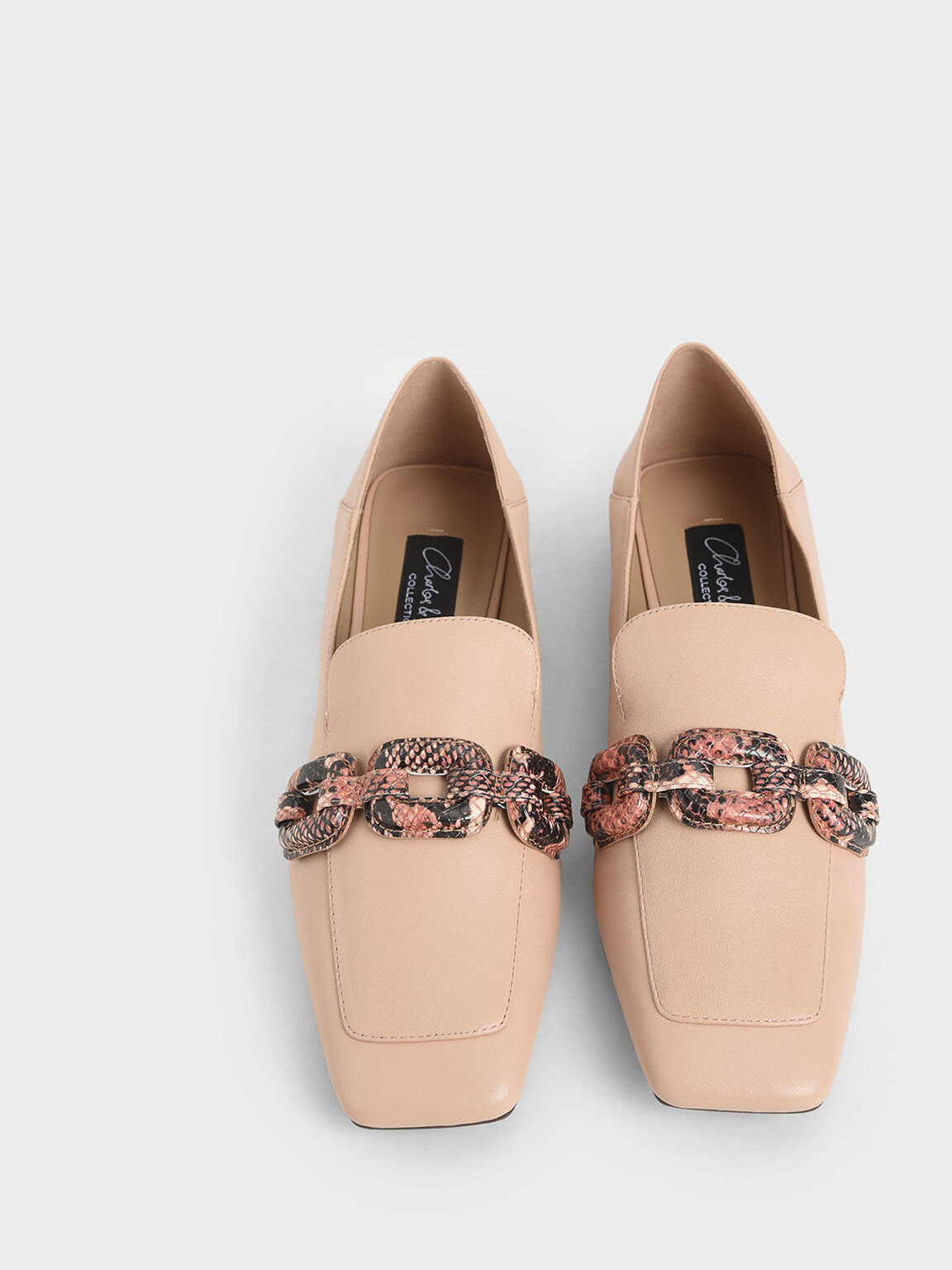 Leather Snake Print Step-Back Loafers, Light Pink, hi-res