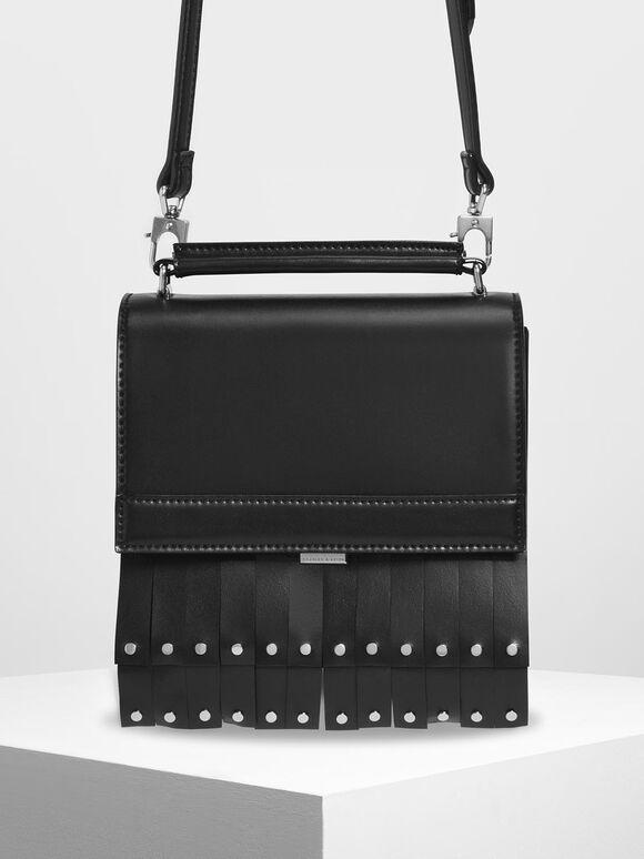 Fringe Trim Top Handle Bag, Black, hi-res