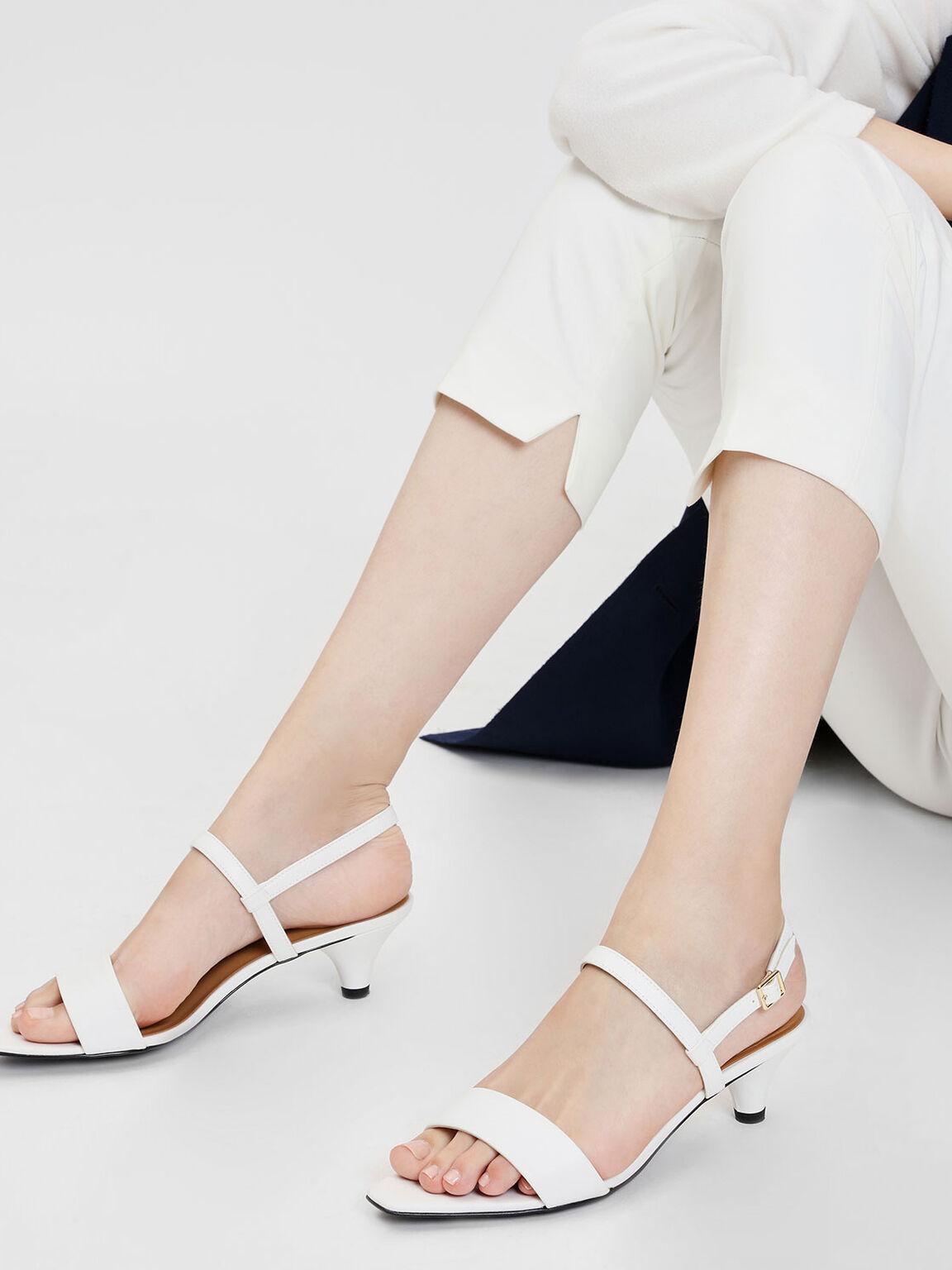 Mini Square Toe Heeled Sandals, White, hi-res
