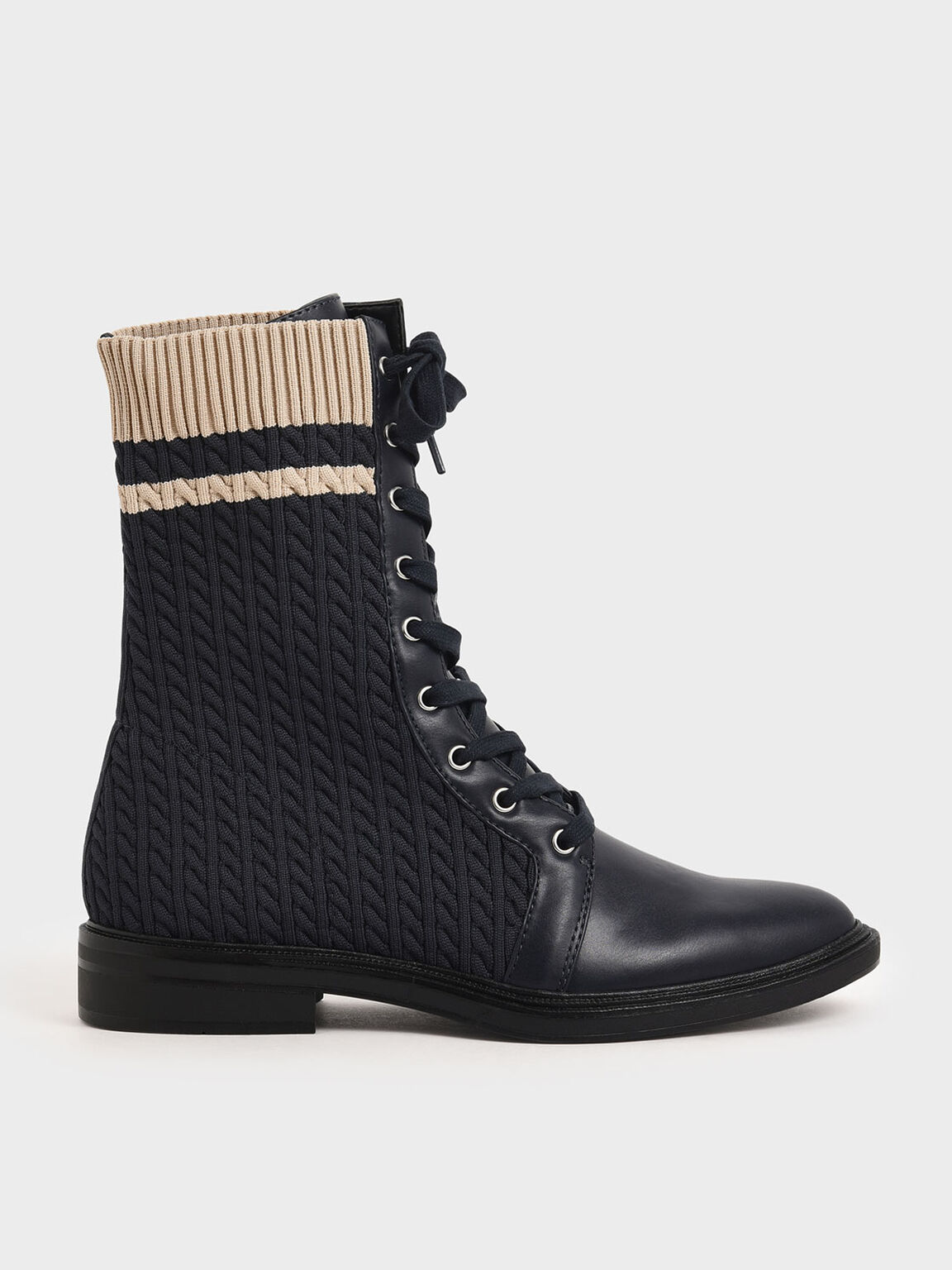 Knitted Lace-Up Calf Boots, Dark Blue, hi-res