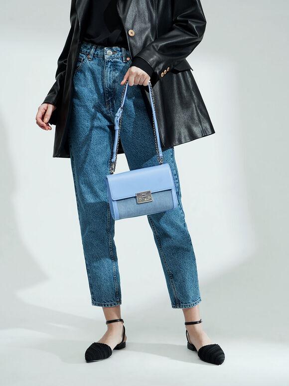 Textured Boxy Chain Strap Bag, Denim Blue, hi-res