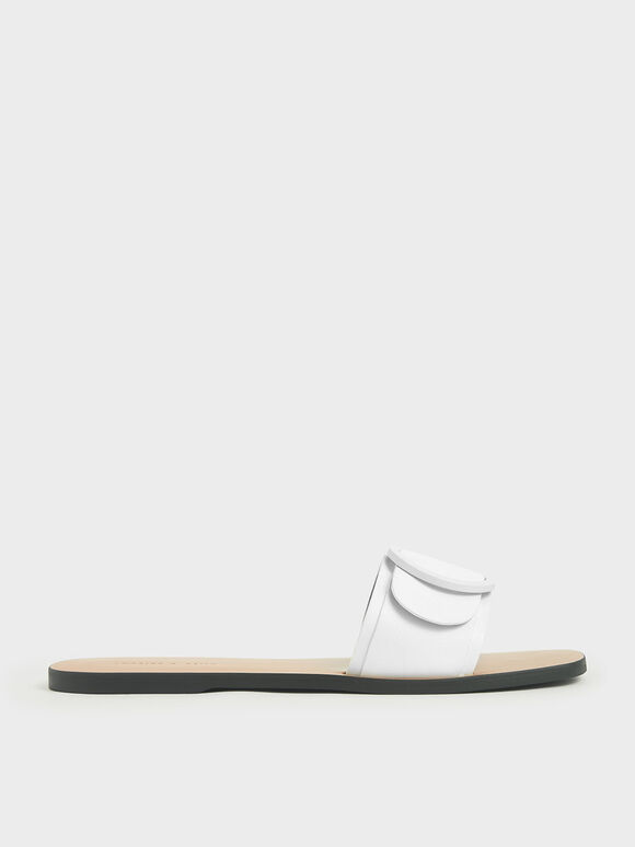 Buckle Strap Slide Sandals, White, hi-res