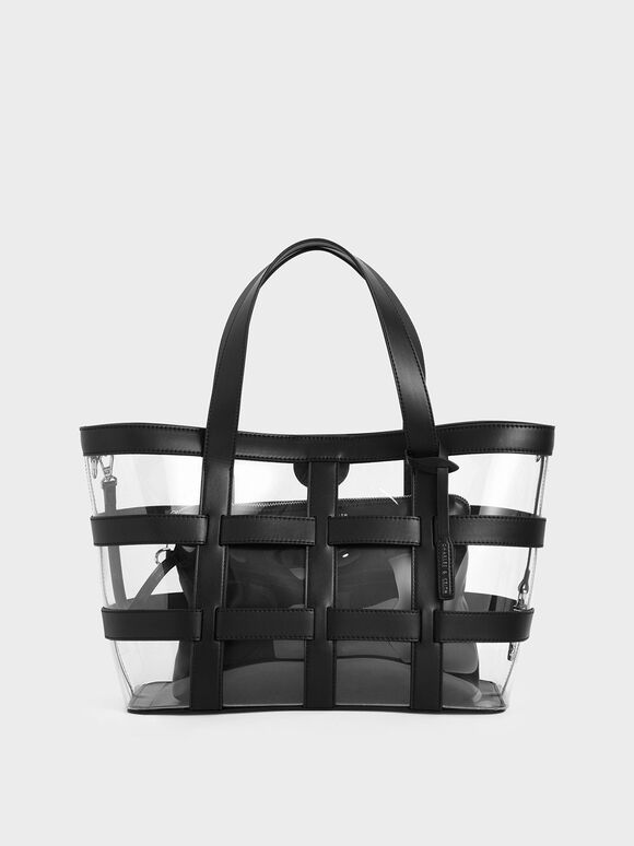 Large Caged See-Through Tote Bag, Black Textured, hi-res