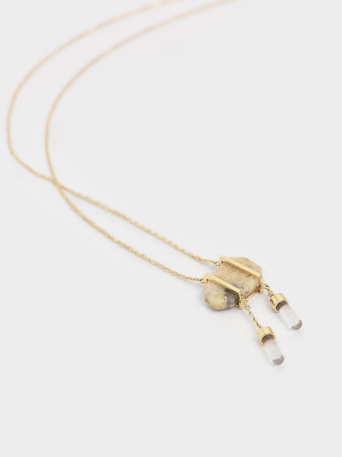 纏絲瑪瑙項鍊, 金色, hi-res