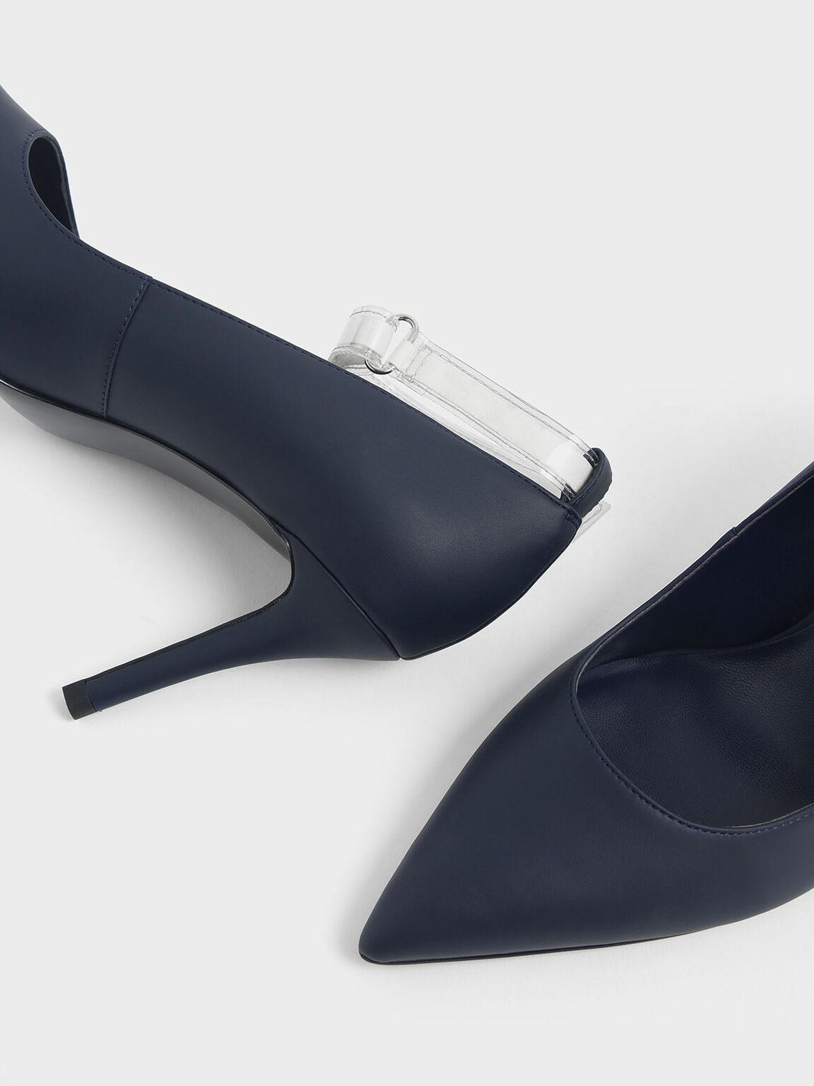 Clear Ankle Strap Stiletto Pumps, Dark Blue, hi-res