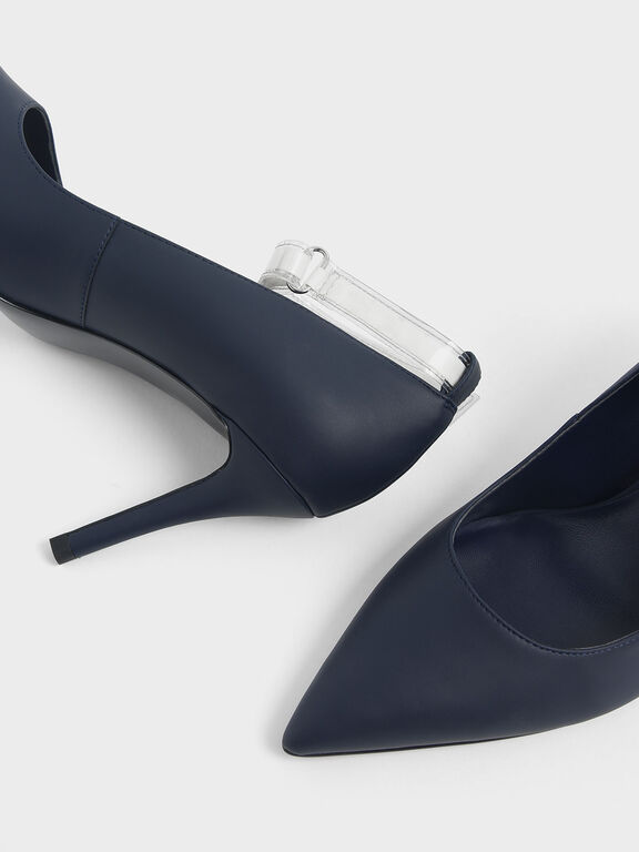 Clear Ankle Strap Stiletto Pumps, Dark Blue