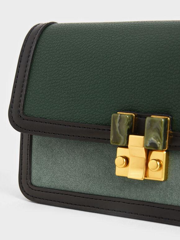 Stone-Embellished Clutch, Green, hi-res