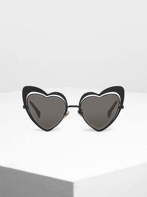 Heart-Shaped Sunglasses, Black