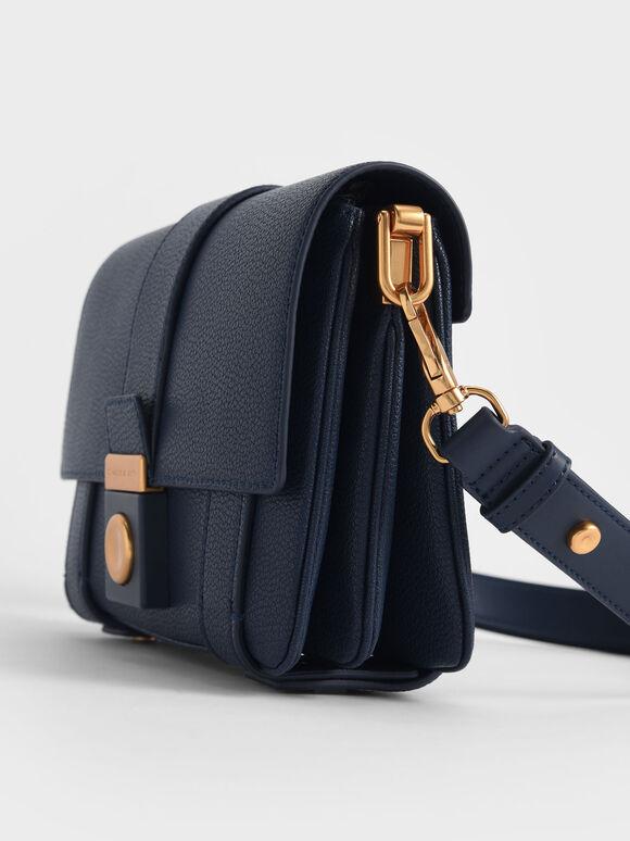 Metallic Push-Lock Shoulder Bag, Dark Blue, hi-res
