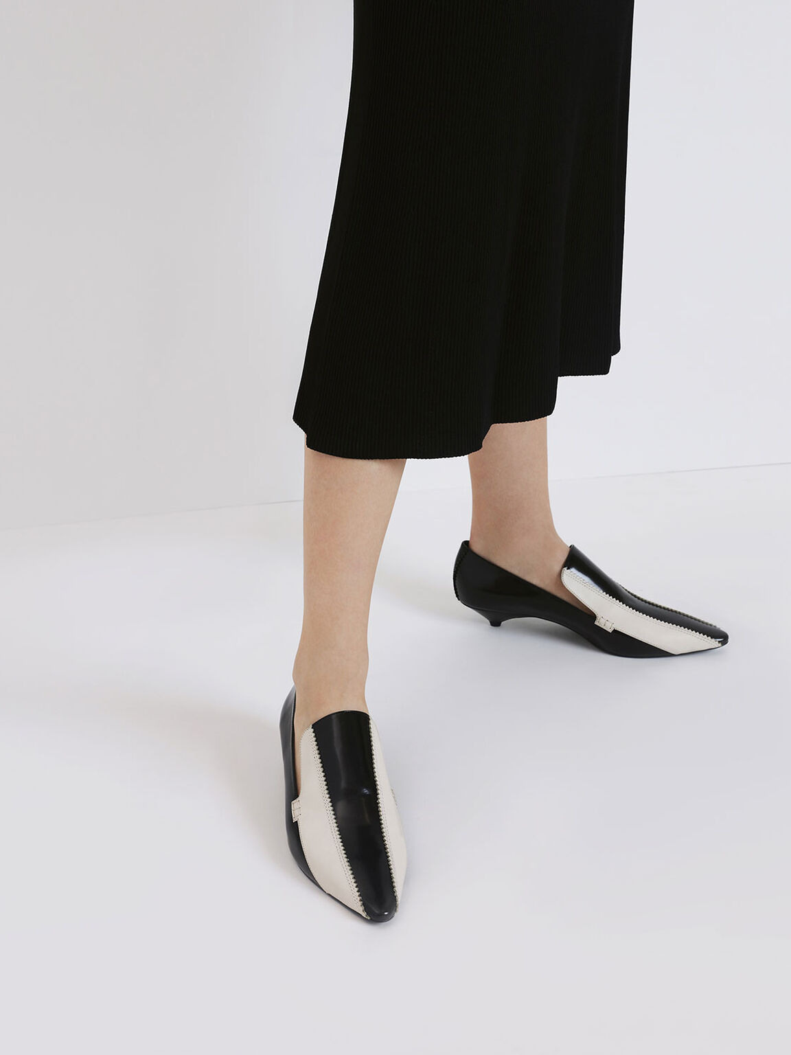 Two-Tone Zigzag Detail Leather Kitten Heel Loafers, Multi, hi-res