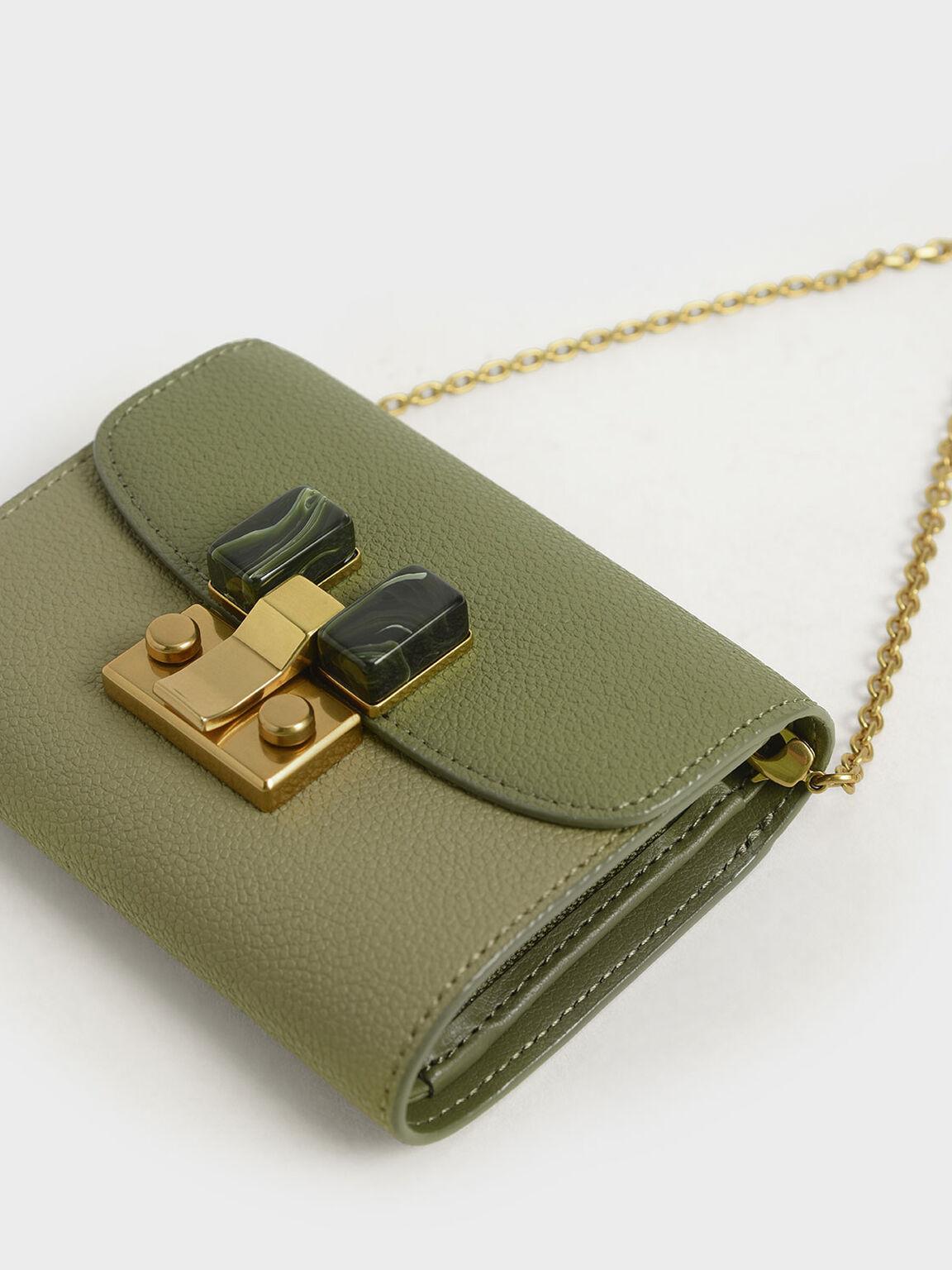 Stone-Embellished Two-Tone Mini Wallet, Sage Green, hi-res