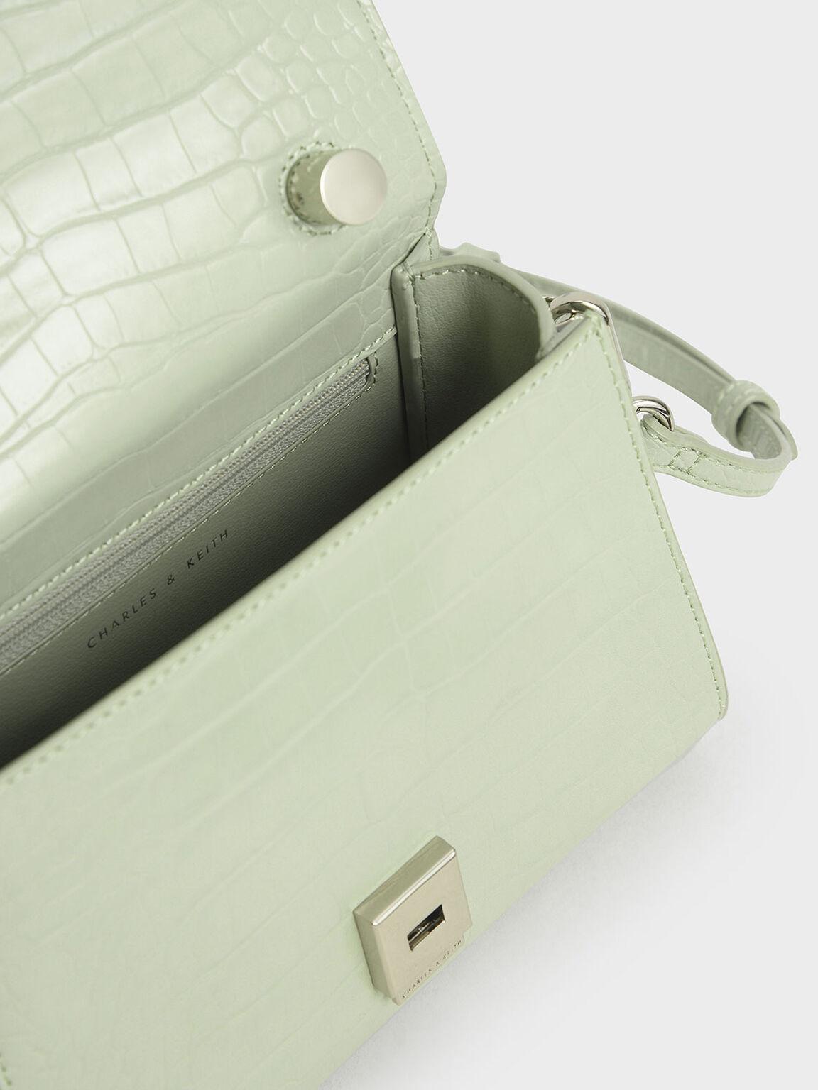 鱷魚紋經典手提包, 薄荷綠, hi-res