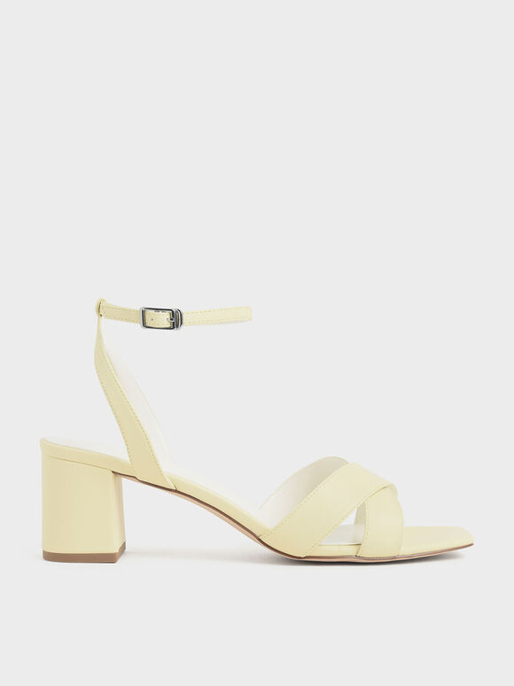 Criss Cross Block Heel Sandals, Yellow, hi-res