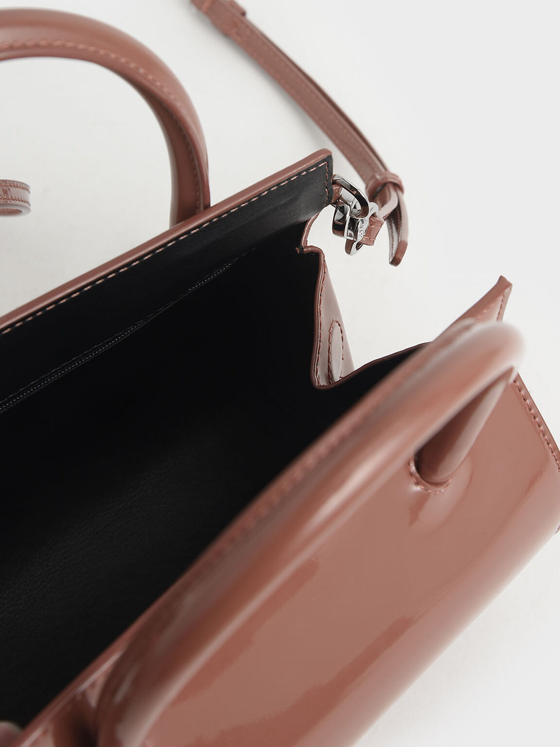 Patent Structured Cylinder Bag, Nude, hi-res