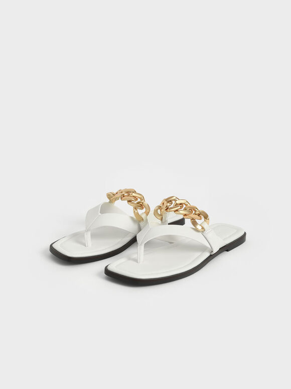 Chain Strap Thong Sandals, White, hi-res