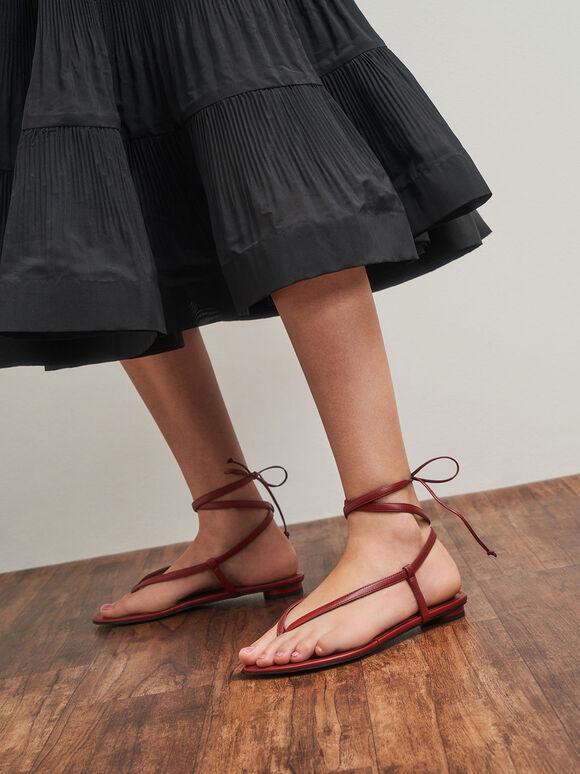 Tie-Around Thong Sandals, Red, hi-res