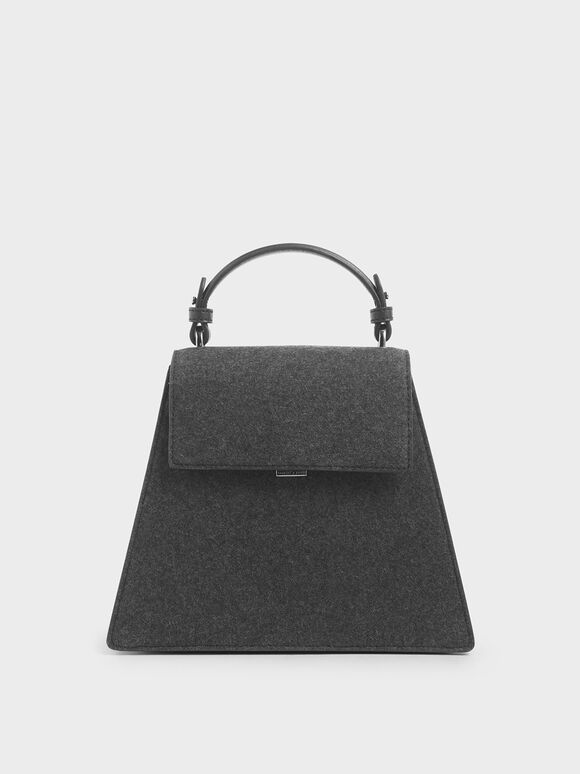 Angular Top Handle Felt Bag, Dark Grey, hi-res
