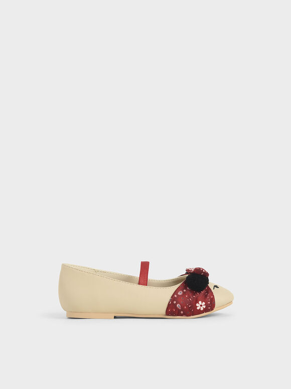 Summer 2020 Responsible Collection: Girls' Bandana Print Bow Ballerinas, Taupe, hi-res