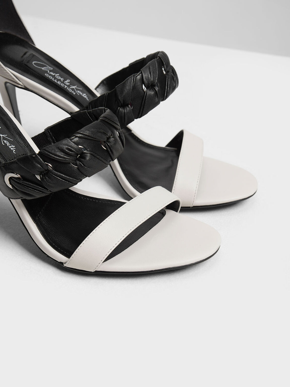 Weave Detail Leather Stiletto Heels, Chalk, hi-res