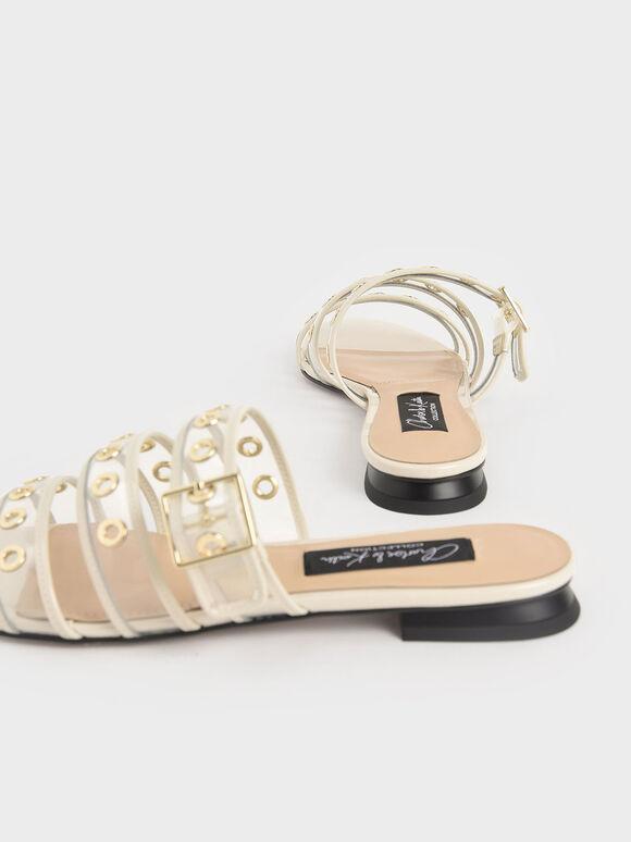 Patent Leather Eyelet-Embellished Slide Sandals, Chalk, hi-res