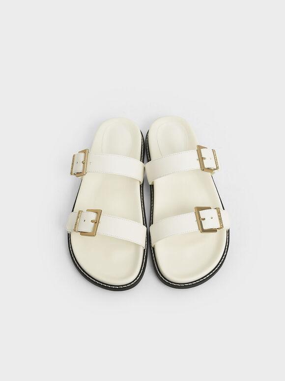 雙扣環拖鞋, 白色, hi-res