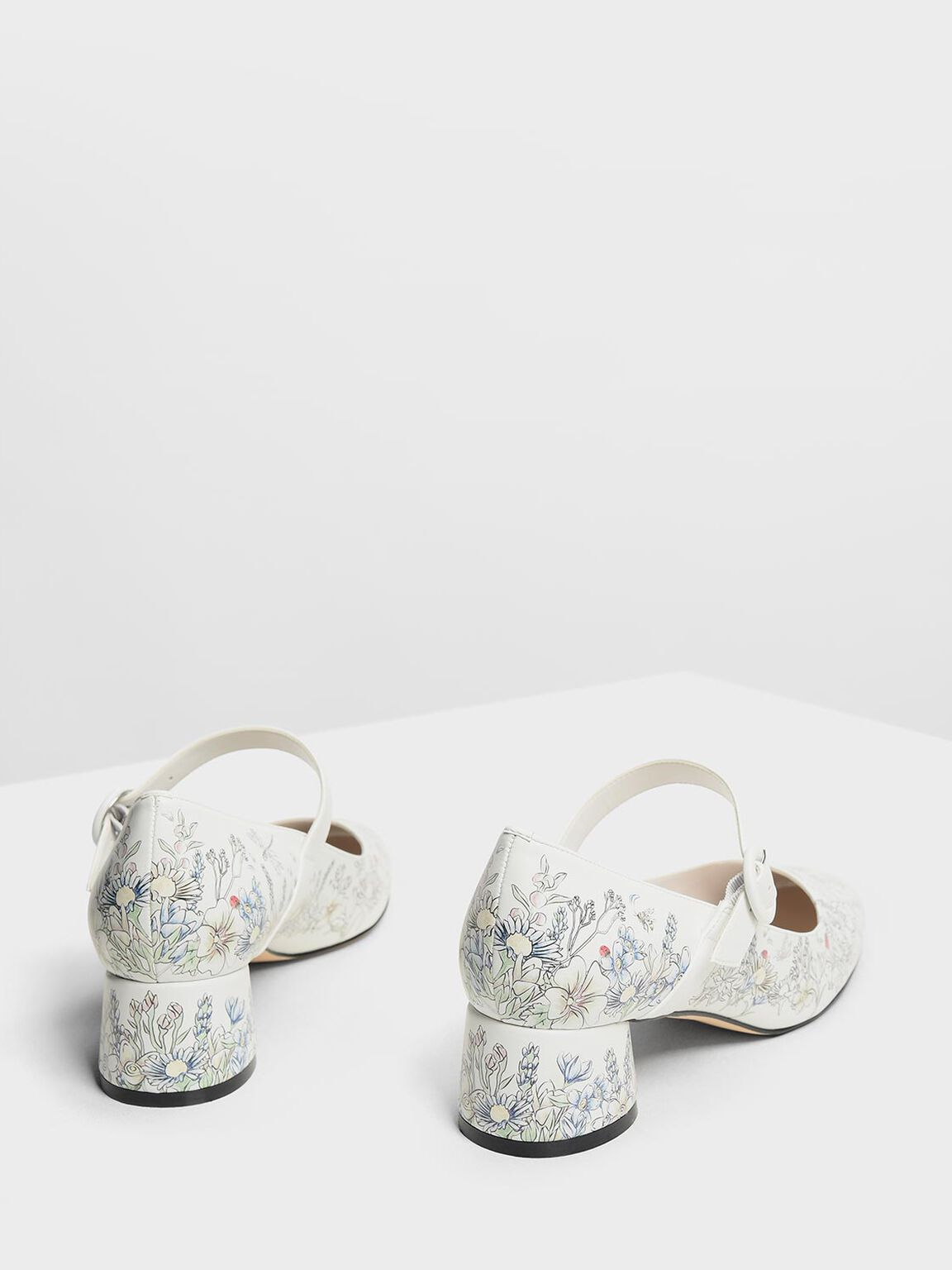 Floral Print Mary Jane Heels, White, hi-res
