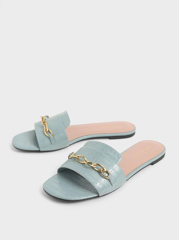 Croc-Effect Chain Link Slide Sandals, Blue, hi-res