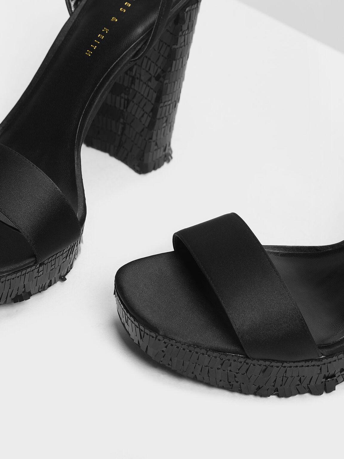 Sequin Platform Heeled Sandals, Black, hi-res