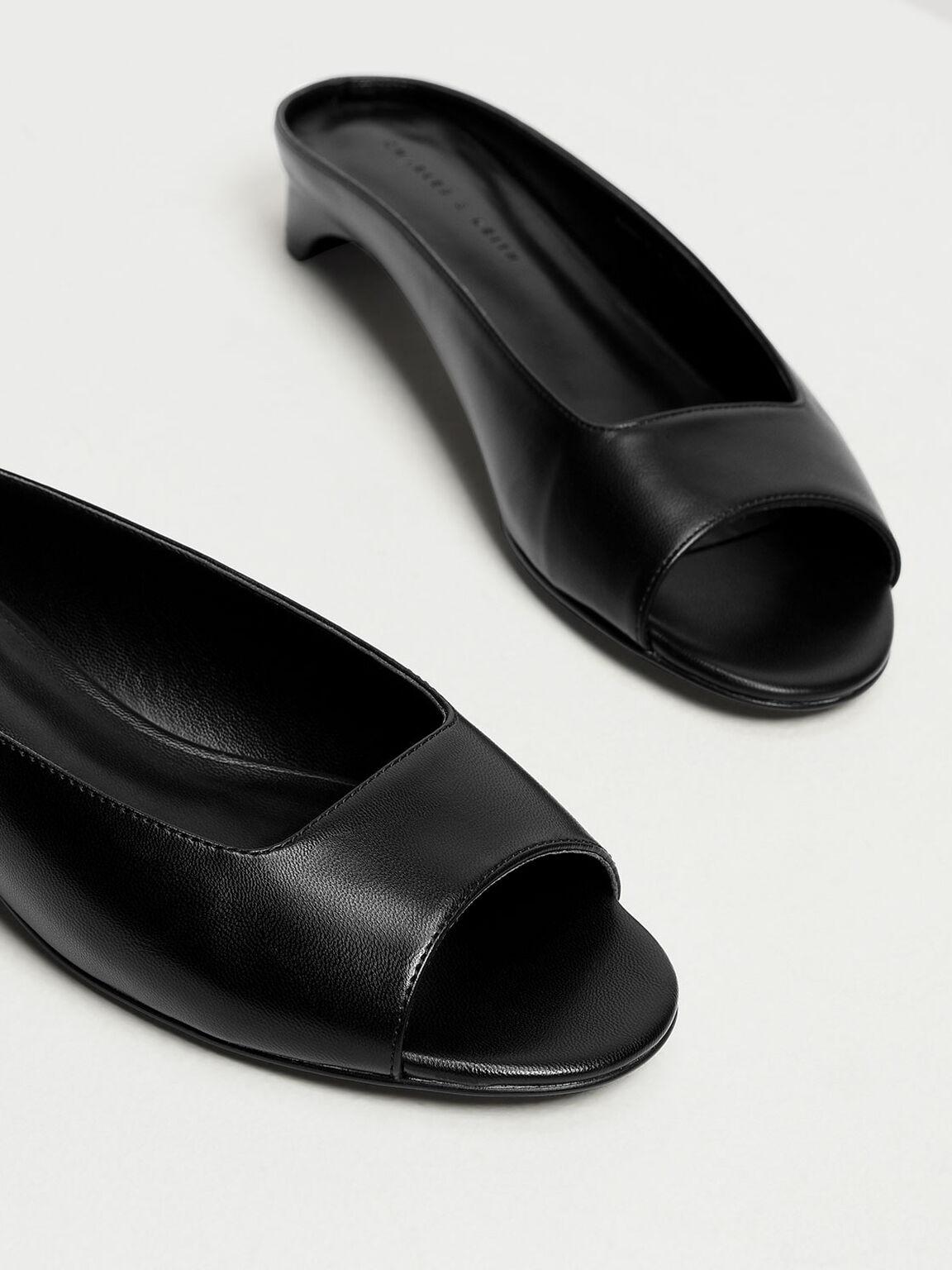 Geometric Cut Kitten Heel Slide Sandals, Black, hi-res