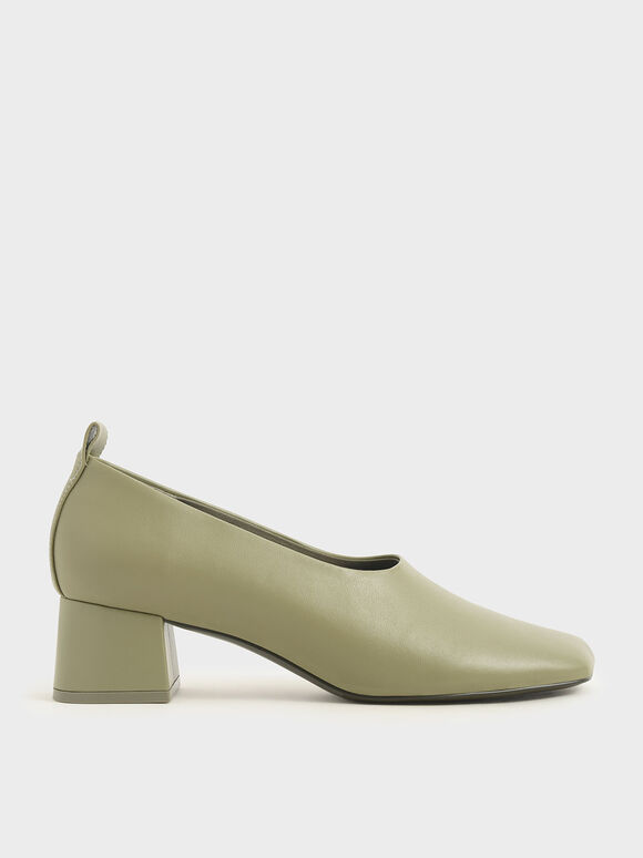 Block Heel Round Toe Pumps, Sage Green, hi-res