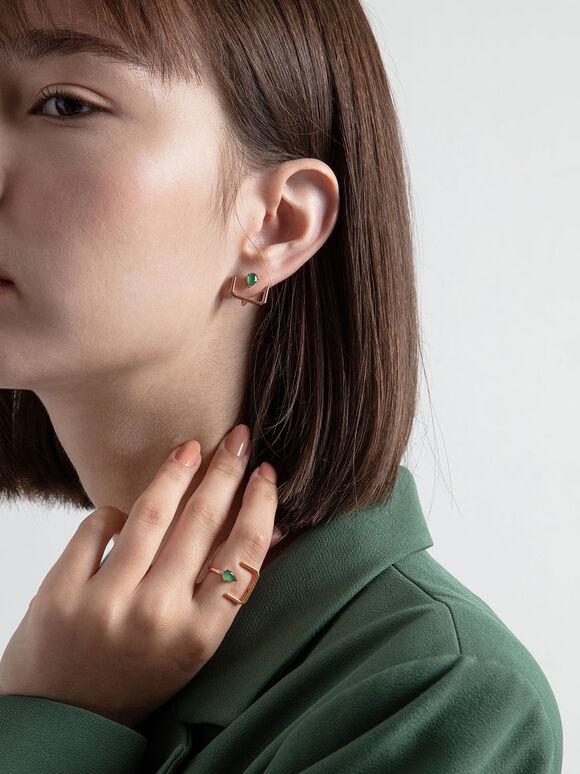 綠瑪瑙U型戒指, 玫瑰金, hi-res